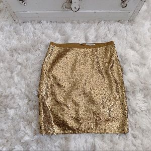 Madewell Broadway & Broome Gold Sequin Skirt